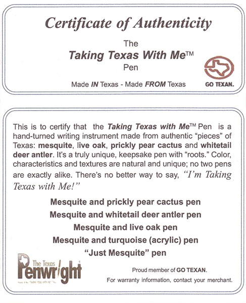 Events in America - The Texas Penwright- Promotional Items ...